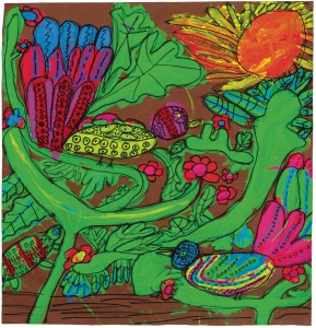 Hoi Ming Lee McVey, Quetzal Birds, 2009. Fluorescent tempera paint, permanent marker on brown paper.